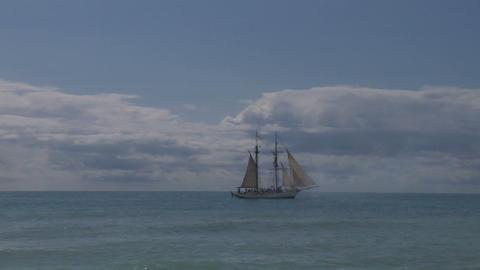 schooner cannon 01 Stock Video Footage