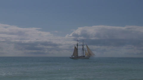 schooner cannon 01 Stock Video Footage