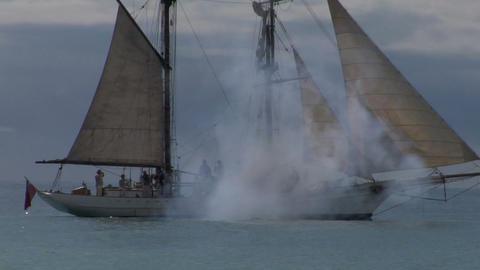 schooner cannon 03 Stock Video Footage