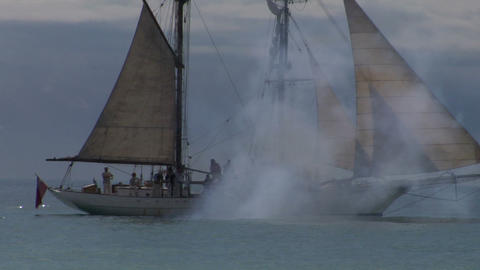 schooner cannon 03 Stock Video Footage
