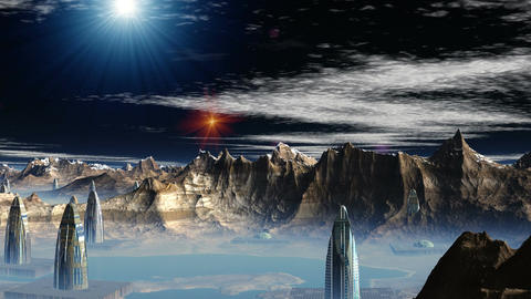 Fantastic (alien) city and UFO Stock Video Footage
