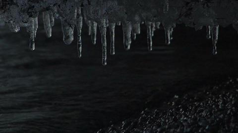 Ice Pillar in the night of Towada Lake,Aomori,Japan Stock Video Footage