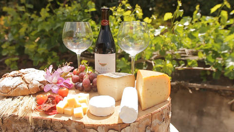 wine Blue cheese gouda bread grape food parmesan s Stock Video Footage