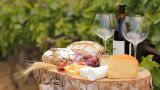 Wine Blue Cheese Gouda Bread Grape Food Parmesan Swiss Dairy Healthy France Milk Food stock footage