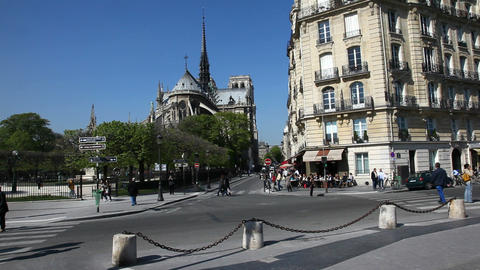 Behind Notre Dame Stock Video Footage