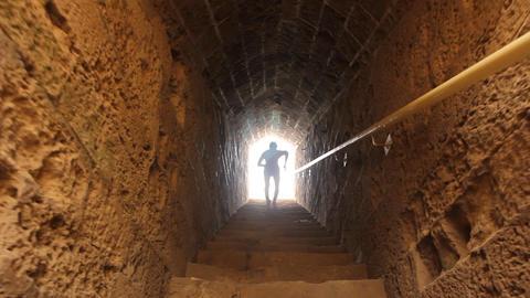 handsome Gladiator roman goddess body torso run running... Stock Video Footage