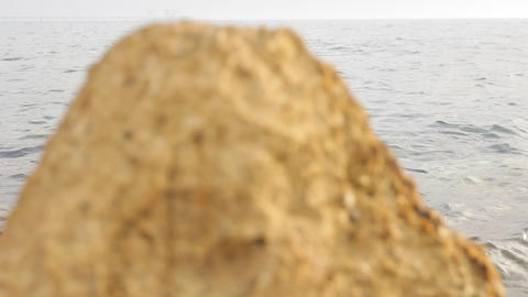 Model Beach young gorgeous sexy rocks man athletic models... Stock Video Footage