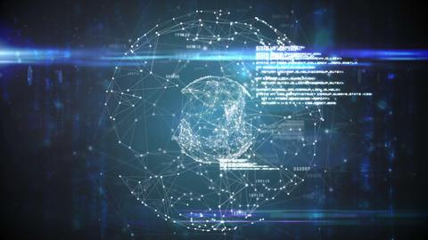 Global business hologram Animation