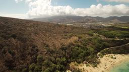 Aerial Shoot ,wide View, Pacific Ocean On Huilua Pond, Kahana Bay Beach Park. Ho stock footage