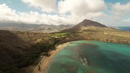 Aerial Shoot ,wide View, Pacific Ocean On Huilua Pond, Kahana Bay Beach Park. Ho stock footage