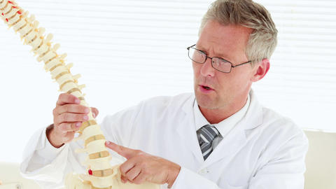 Doctor Looking At Spine Model stock footage