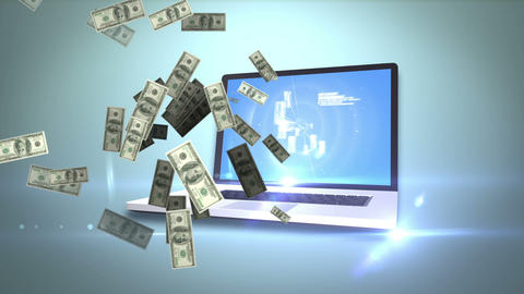 Money coming out of a laptop Animation