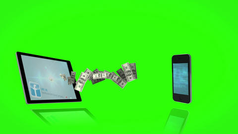 Money coming out of a tablet and coming in a smartphone on green screen backgrou Animation