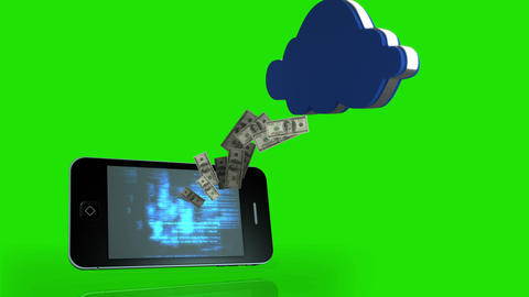 Money coming out of a smartphone and coming in a cloud on green screen Animation