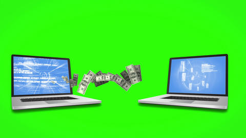 Money coming out and coming in of laptops on green screen background Animation