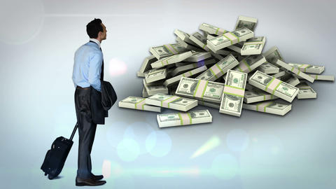 Businessman looking at money pile Animation