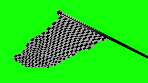Checkered flag waving on green screen Animation