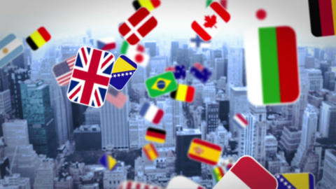 National flag falling on city background Animation