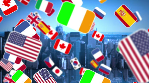 Zoom in national flag on city background Animation