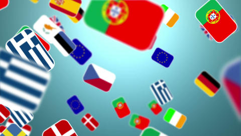 European Nationals Flags Flying Away On Blue Background stock footage