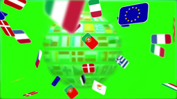 Nationals Flags Of European Country Turning On Green Screen stock footage