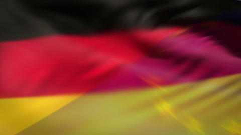 German and European nationals flags in the wind Animation