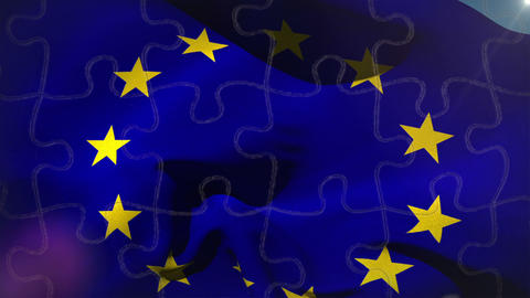 European Flag Waving In The Wind stock footage