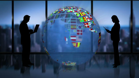 Earth made of nationals flags turning on business room with business people Animation