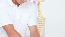 Doctor Massaging His Patient Shoulders stock footage