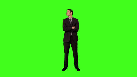 Businessman standing and looking around Footage