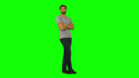 Casual man standing with arms crossed Footage
