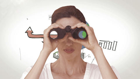 Businesswoman looking through binoculars against brainstorm Animation