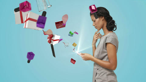 Pretty brunette holding tablet computer and doing e-shopping Animation