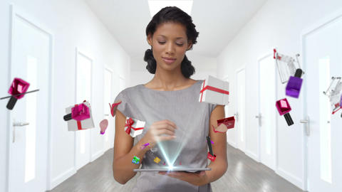 Pretty brunette doing e-shopping with tablet computer Animation