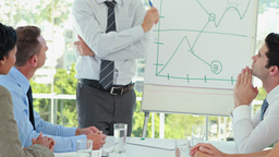 Businessman explaining the graph on the whiteboard Footage