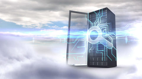 Server tower with magnifying glass on cloudy sky background Animation