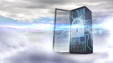 Server tower protecting by electronic security on cloudy sky background Animation