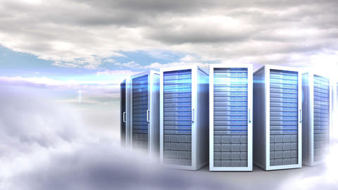 Servers towers on cloudy sky background Animation