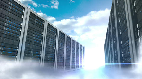 Server tower on cloudy sky background Animation