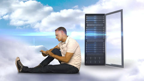 Casual man using his smartphone in front of server tower Animation
