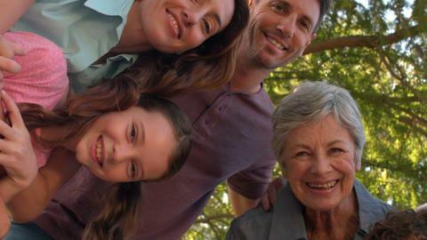 Extended Family Smiling In The Park stock footage