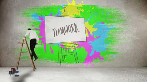 Businessman on ladder painting on wall Animation