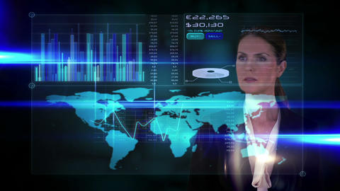 Businesswoman touching futuristic interface on black background Animation