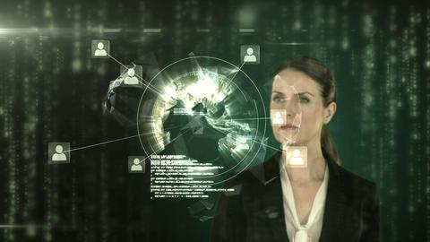 A businesswoman touching futuristic interface Animation