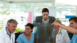 Medical team looking at Xray during meeting Footage