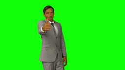 Businessman gesturing thumbs up Footage