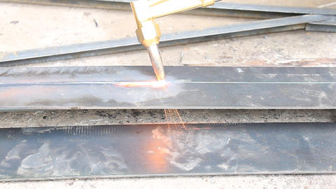 Metal Cutting With Acetylene Gas In Close Up Horizontal View stock footage