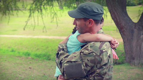 Soldier Reunite With His Daughter stock footage