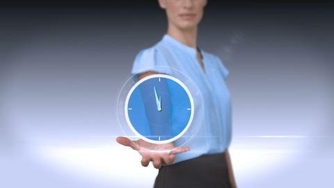 Businesswoman holding virtual alarm clock Animation