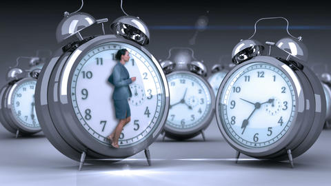 Businesswoman doing jogging on giant clock Animation